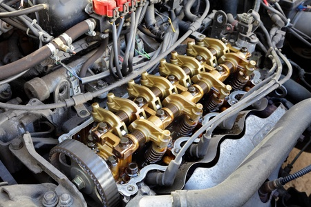 cam gear: Close up of gasoline car engine,  three valve per cylinder  system Stock Photo