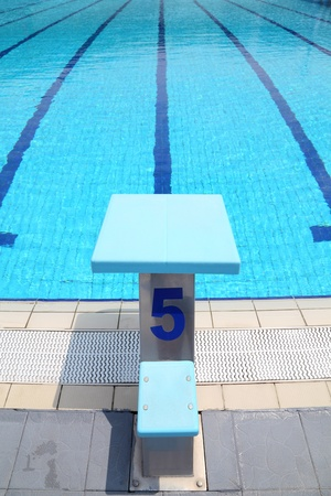 summer olympics: Detail from open air olympic swimming pool, starting place Stock Photo