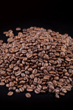 coffee grains: Close up of roasted coffee beans,selective focus