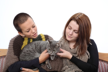 Two young woman and gray domestic cat at sofa Stock Photo - 16194348