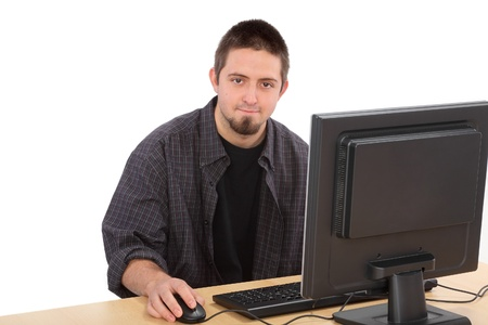 Education, young cheerful Caucasian student and his computer Stock Photo - 16194337