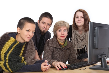 Education, Cheerful Caucasian students and teacher with computer Stock Photo - 16570201
