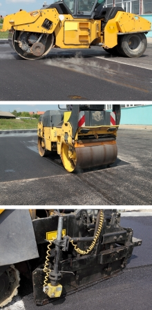 asphalting: Road roller and asphalt paving machine at construction site
