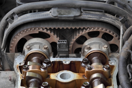 camshaft: Car engine head two camshaft system, pulley and belt