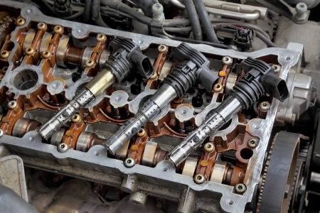 Ignition coil on car gasoline engine with two camshafts Stock Photo - 20191647