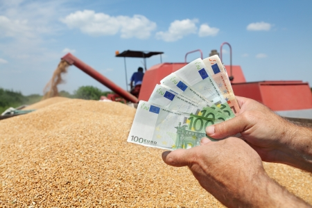 Human hand holding Euro banknote with wheat and combine in background photo