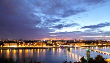 Novi Sad on Danube skyline in early evening, Vojvodina, Serbia, Europe