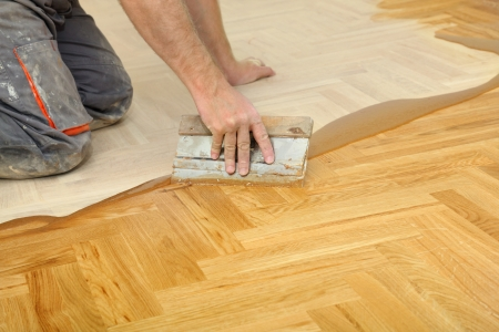 Varnishing of oak parquet floor, workers hand and tool Stock Photo