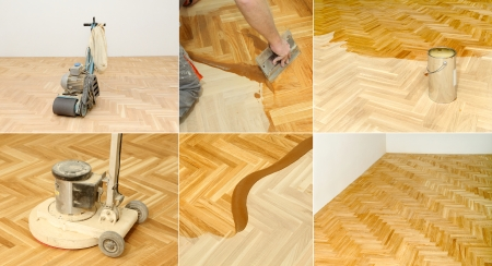 Varnishing of oak parquet floor in home or office photo
