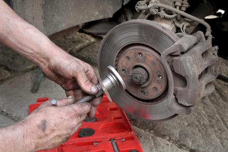 brake caliper: Mechanic fix car disc brakes with disc brake caliper tool set