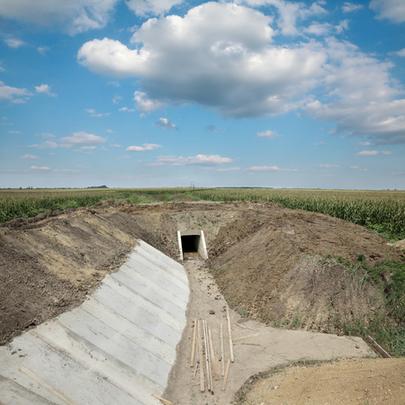 irrigated: Construction site of new irrigation channel in field