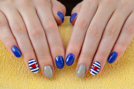 nail colour: Finger nail treatment ,hands with painted fingernails Stock Photo