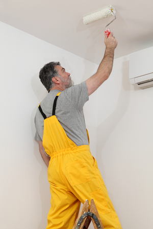 redecoration: Worker painting ceiling with paint roller from ladder Stock Photo