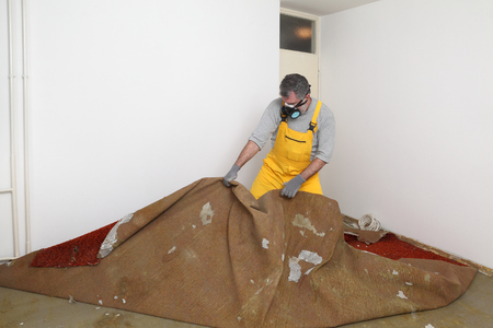 Adult worker with protective mask removing old carpet in room Stockfoto
