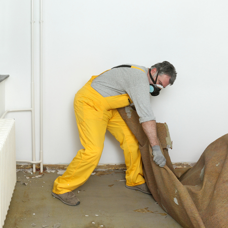 Adult worker with protective mask removing old carpet in room Stock Photo