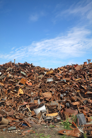 scrap heap: Heap of scrap metal ready for recycling