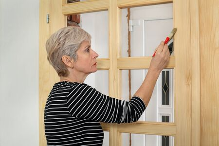 renovating: Adult female worker painting new wooden door with paintbrush Stock Photo