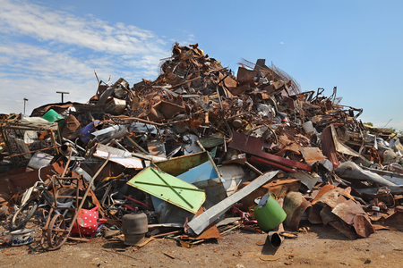 scrap: Heavy industry, heap of scrap metal ready for recycling