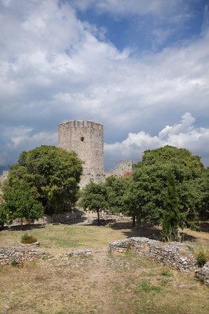 01: PLATAMON, PLATAMONAS, GREECE- AUGUST 01: Old 12th century Byzantine castle in Platamonas - Platamon  August 01. 2014. Olympus region, Macedonia, Greece