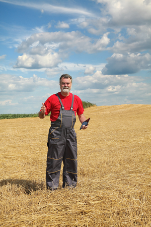 agronomist: Farmer or agronomist in wheat field after harvest gesturing with tablet in hand Stock Photo