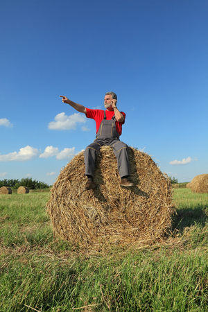 Farmer at bale of hay in field using mobile phone