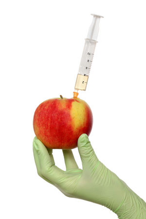 apple gmo: Scientist injecting liquid to red apple using syringe Stock Photo