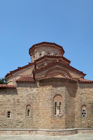 kalampaka: METEORA, GREECE-28 JUL 2016,  Holy Monastery Great Meteoron, Meteora, Greece, Church of the Transfiguration of Jesus Editorial