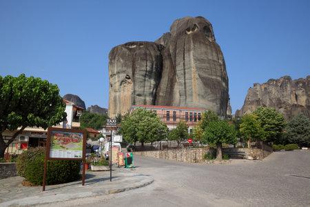 kalampaka: METEORA, GREECE-28 JUL 2016,  Central square of small town Kastraki near Meteora rocks, Greece Thessaly Editorial