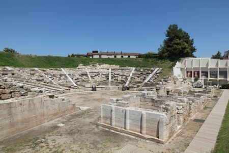 LARISSA, GREECE-31 JULY 2017,The first ancient theatre Larissa Grece, the largest theater in Thessaly  with a seating capability of 10,000 persons constructed in the 3rd century BC