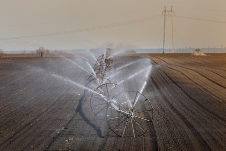 Watering of cultivated field in early spring, irrigation equipment spraying water to land 免版税图像