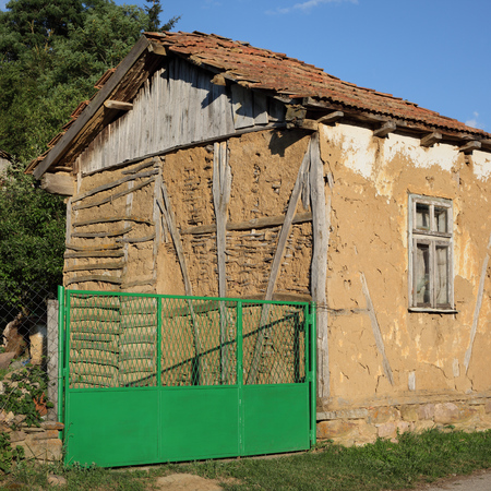 Traditional  old house with new fence in South-East Serbia or Bulgaria, Balkan Mountain - Stara Planina, Europe