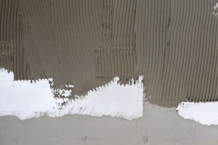 Closeup of styrofoam, polystyrene insulation of wall with mortar