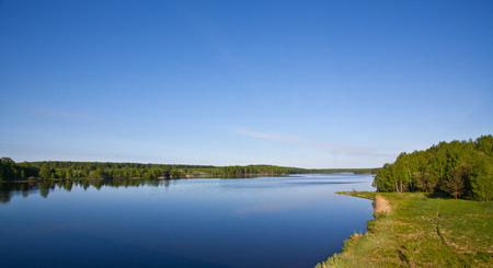 Desna river landscape. Sunnny day with clear sky photo