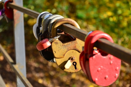 the padlock on the bridge Stock Photo - 16235448