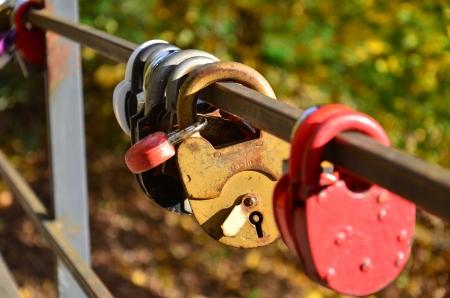 the padlock on the bridge Stock Photo - 16235448