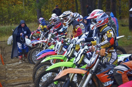 Competitions on  the cross-country motorcycle race in the Moscow suburban town of Lytkarino, 10 October 2012. Stock Photo