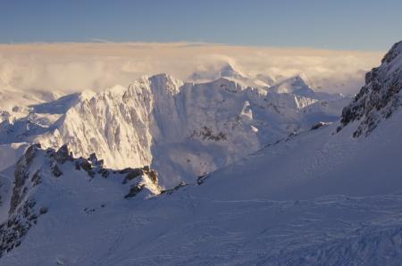 Ski resort France Espace Killy, Val Claret, Tignes and Val dIsere  Stock Photo