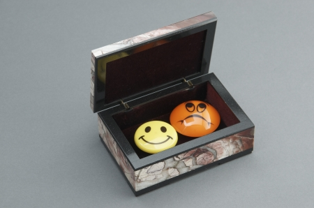 Stone box with the magnets. photo