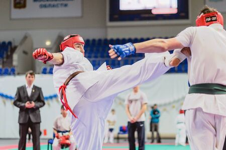 Ramenskoye, Moscow region, Russia - February 2, 2013: the championship of Moscow region on Kyokushinkai karate among young men. Editorial