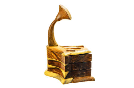 phonograph: A wooden box in the form of the phonograph on a white background.
