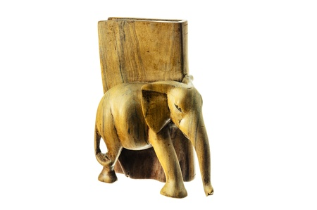 Wooden figure of an elephant on a white background. Stock Photo - 17834538