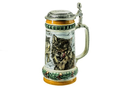 pewter mug: Porcelain mug for beer with an engraving on a white background.