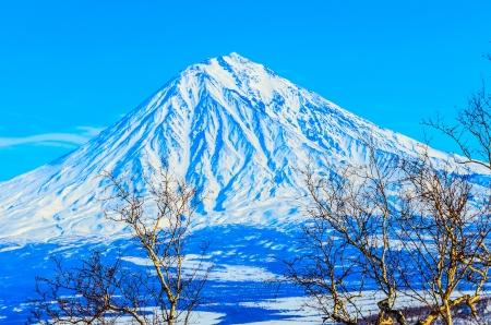 Freeride skiing on the volcanoes of Kamchatka Peninsula, Russia.