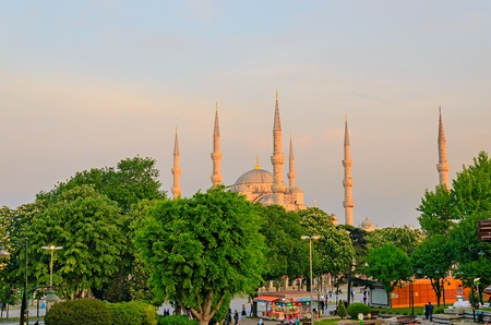 against the current: The current Blue mosque in Istanbul against the background of the sunset sky. Founded in 1616.
