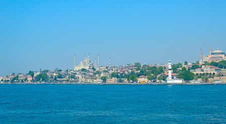 The Bosphorus separating Turkey and Istanbul on the European and Asian parts.