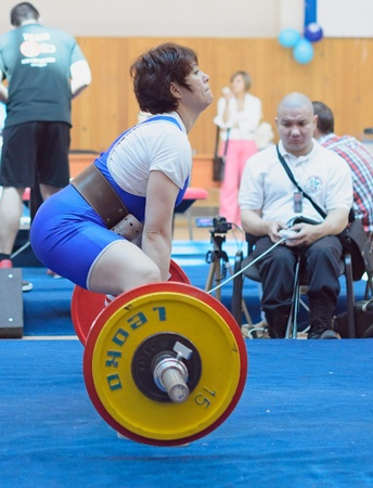 powerlifting: MOSCOW, RUSSIA - JUNE 13: athlete Korolevskaya Natalya in action during the Russian championship on powerlifting event in Moscow on June 13, 2013.