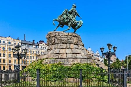 erected: Monument to Bogdan Khmelnitsky, erected in 1888, Kiev, Ukraine.