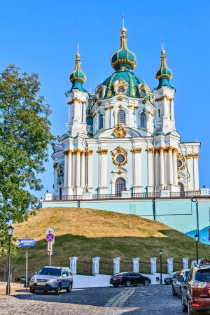 bartolomeo rastrelli: KIEV, UKRAINE - AUGUST 5: St. Andrews Church was built in Baroque style by the architect Bartolomeo Rastrelli in 1754, in the event travel to Kiev, August 5, 2013.