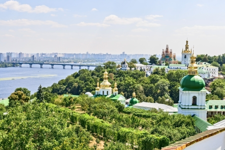 View of the embankment of the Dnieper river in city Kiev.