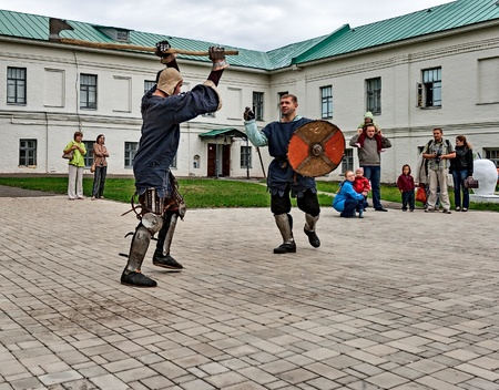 YAROSLAVL, RUSSIA - AUGUST 24: Joust is held on the territory of the monastery in the event of travel around the Golden Ring of Russia, Yaroslavl, August 24, 2013. Editorial